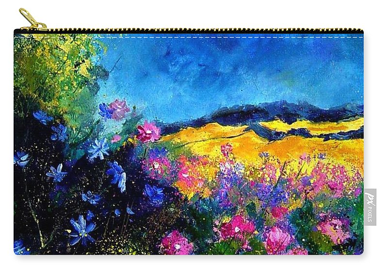 Landscape Carry-all Pouch featuring the painting Blue And Pink Flowers by Pol Ledent