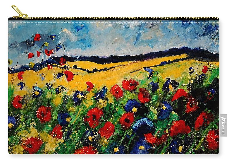 Poppies Carry-all Pouch featuring the painting Blue and red poppies 45 by Pol Ledent