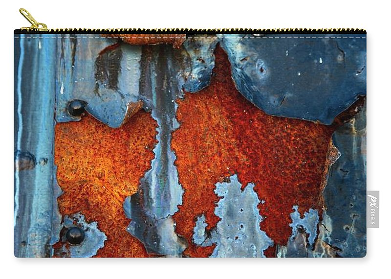 Rusty Pieces Carry-all Pouch featuring the photograph Blue And Rust by Karol Livote