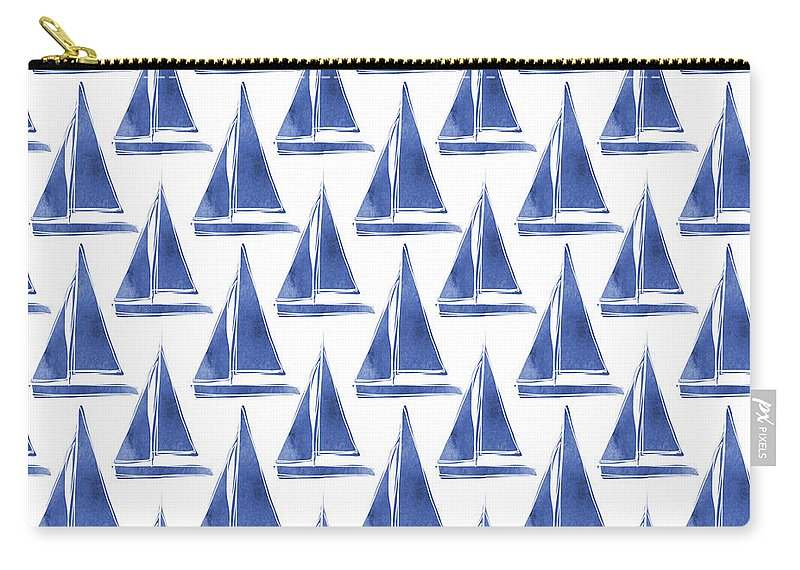 Boats Carry-all Pouch featuring the digital art Blue and White Sailboats Pattern- Art by Linda Woods by Linda Woods