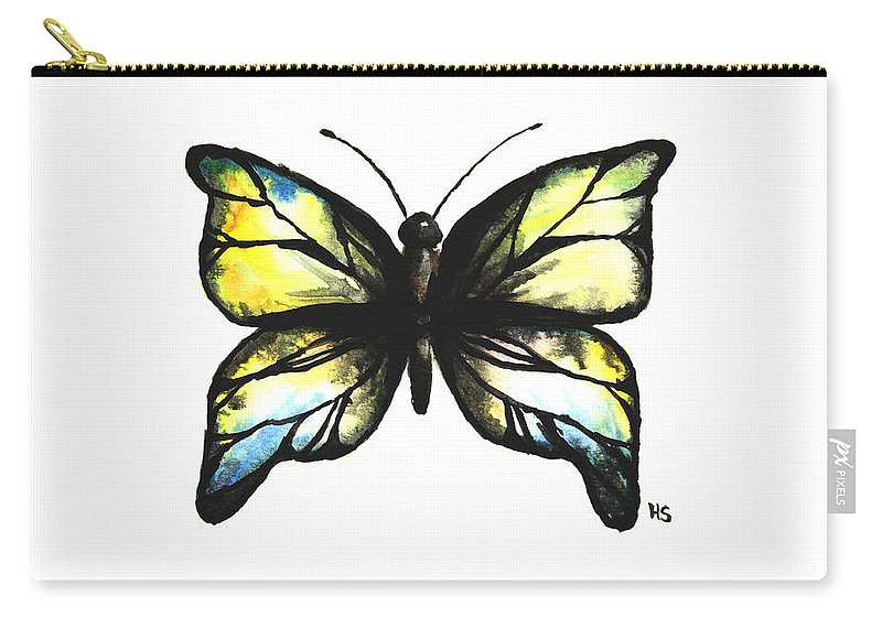 Butterfly Carry-all Pouch featuring the painting Blue And Yellow Watercolor Butterfly by Hannah Sutherland
