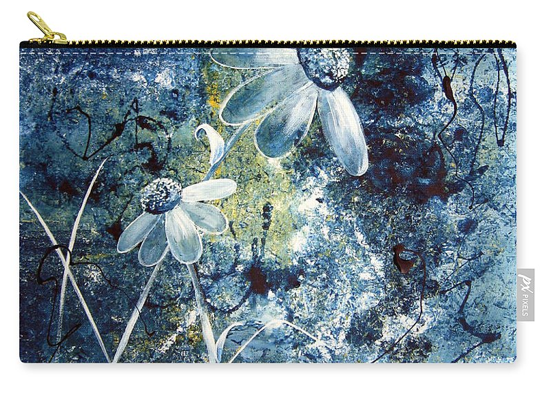 Abstract Carry-all Pouch featuring the painting Blue Beauties by Ruth Palmer