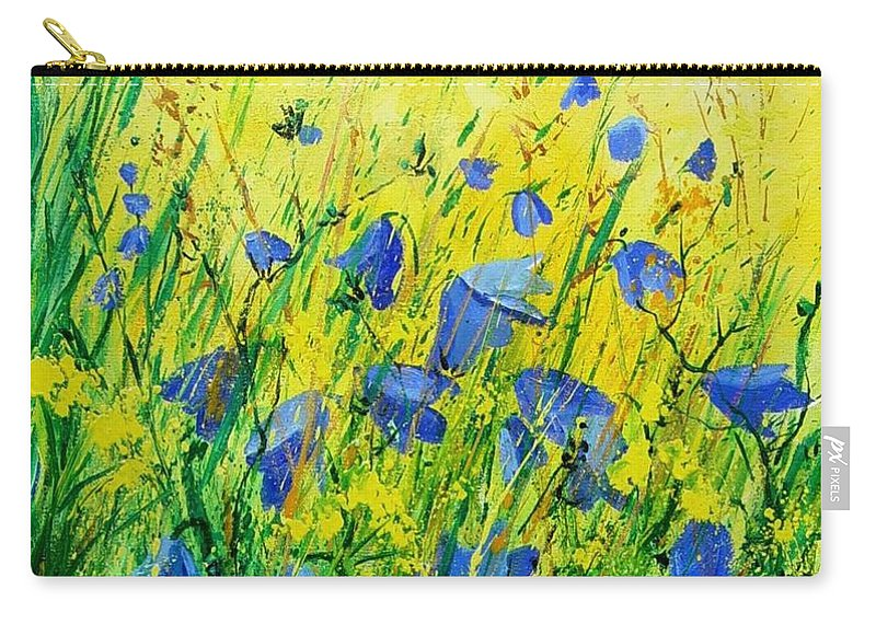 Poppies Carry-all Pouch featuring the painting Blue bells by Pol Ledent