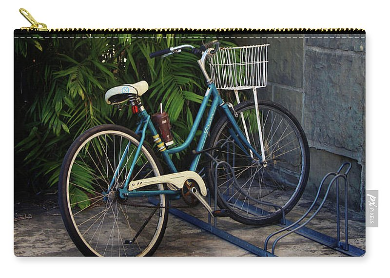 Bicycle Carry-all Pouch featuring the photograph Blue Bike- By Linda Woods by Linda Woods