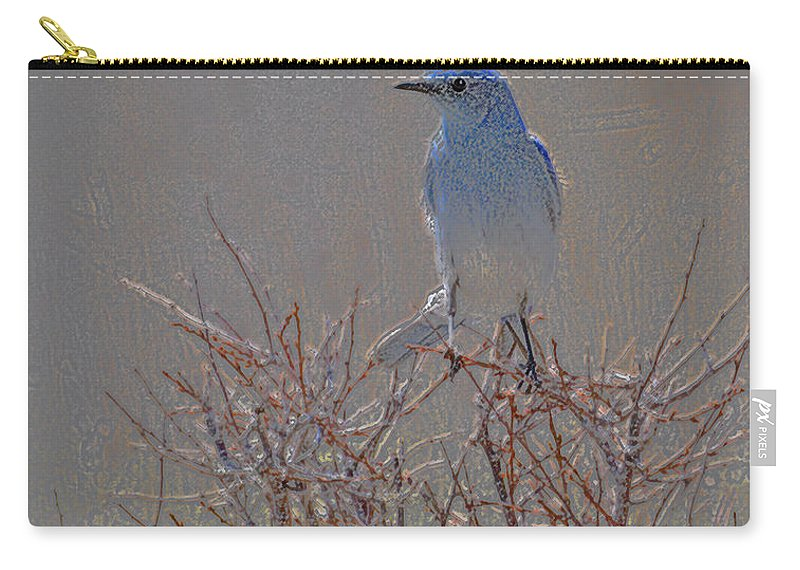 Colored Pencil Carry-all Pouch featuring the photograph Blue Bird Colored Pencil by Heather Coen