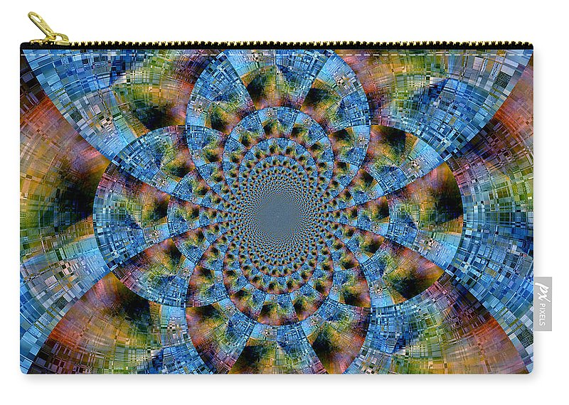 Abstract Carry-all Pouch featuring the digital art Blue Bling by Ruth Palmer
