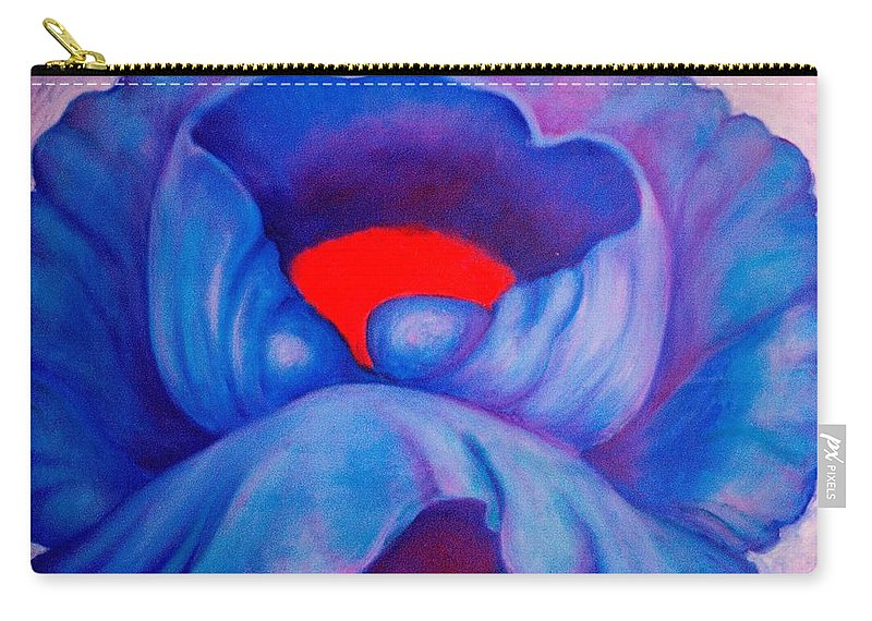 Blue Bloom Carry-all Pouch featuring the painting Blue Bloom by Jordana Sands