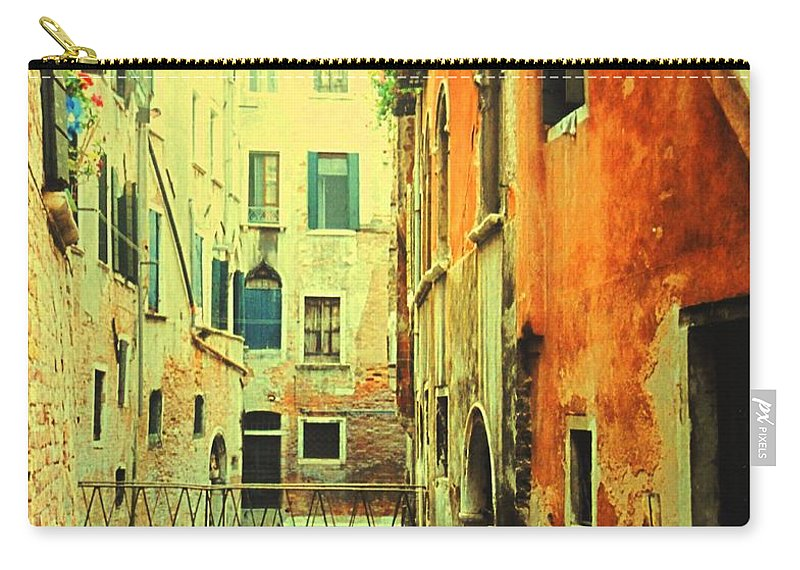 Venice Carry-all Pouch featuring the photograph Blue Boat In Venice by Ian MacDonald