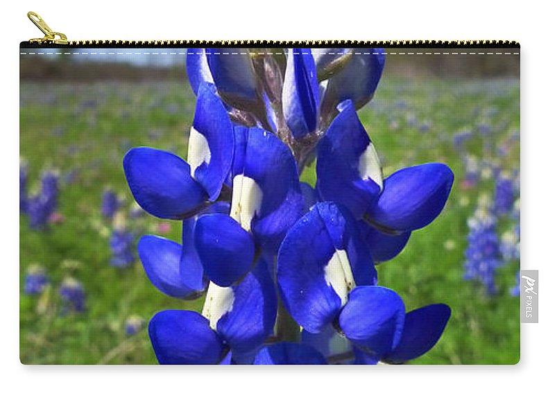 Blue Bonnet Carry-all Pouch featuring the photograph Blue Bonnet by Skip Hunt