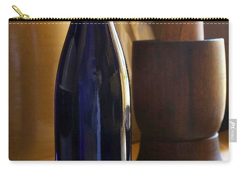 Still Life Carry-all Pouch featuring the photograph Blue Bottle And Mortar by Nelson Strong