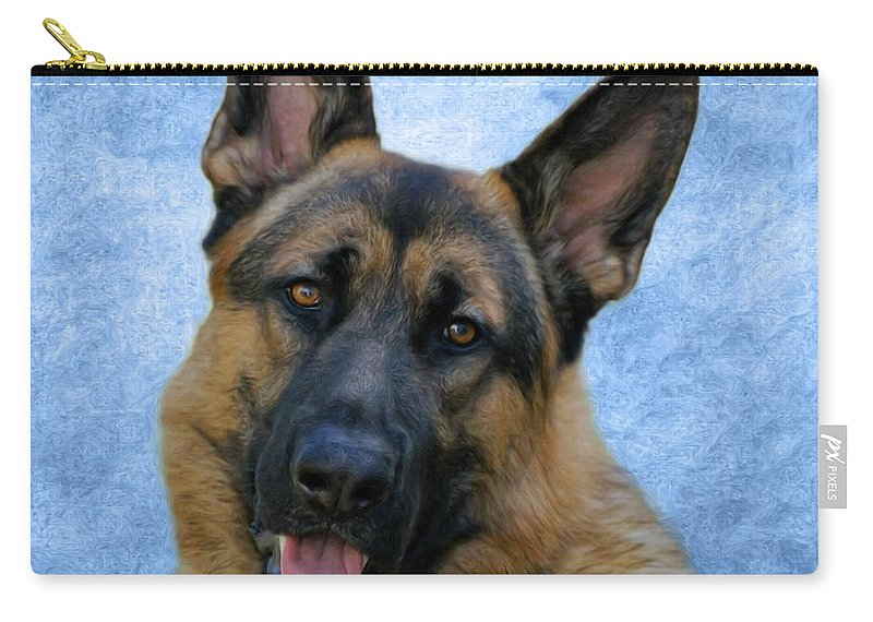 German Shepherd Dog Carry-all Pouch featuring the photograph Blue Boy by Sandy Keeton