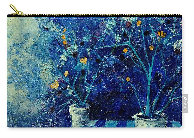 Flowers Carry-all Pouch featuring the painting Blue Bunch by Pol Ledent