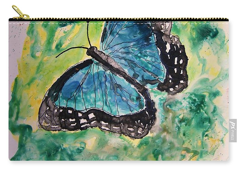 Wildlife Carry-all Pouch featuring the painting Blue Butterfly by Derek Mccrea