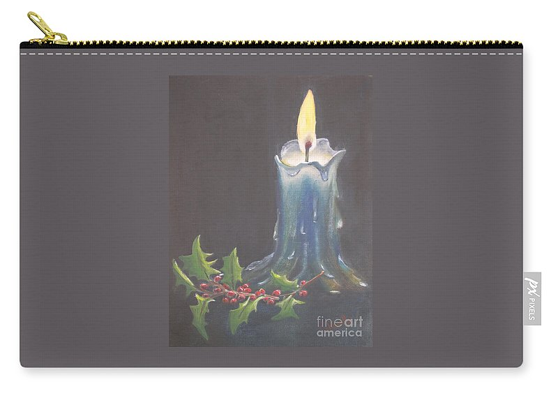 Candle Carry-all Pouch featuring the painting Blue Candle by Patricia Caldwell