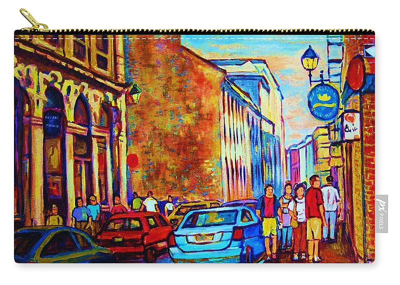 Montreal Carry-all Pouch featuring the painting Blue Cars At The Resto Bar by Carole Spandau