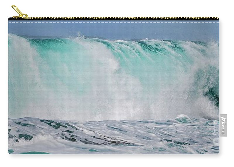 Wave Carry-all Pouch featuring the photograph Blue Cascade  Hawaiian Wave by Debra Banks