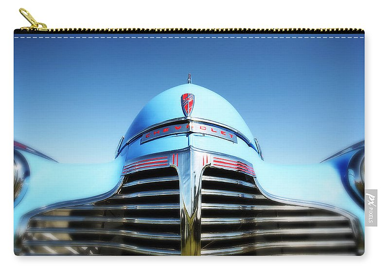 Blue Carry-all Pouch featuring the photograph Blue Chevrolet Master Deluxe by Neil Overy