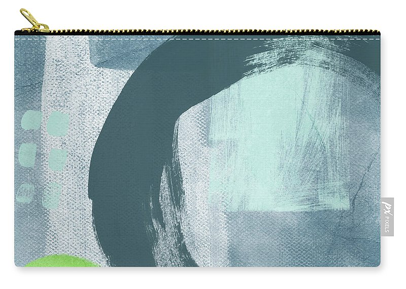 Abstract Carry-all Pouch featuring the painting Blue Circles 2- Art By Linda Woods by Linda Woods