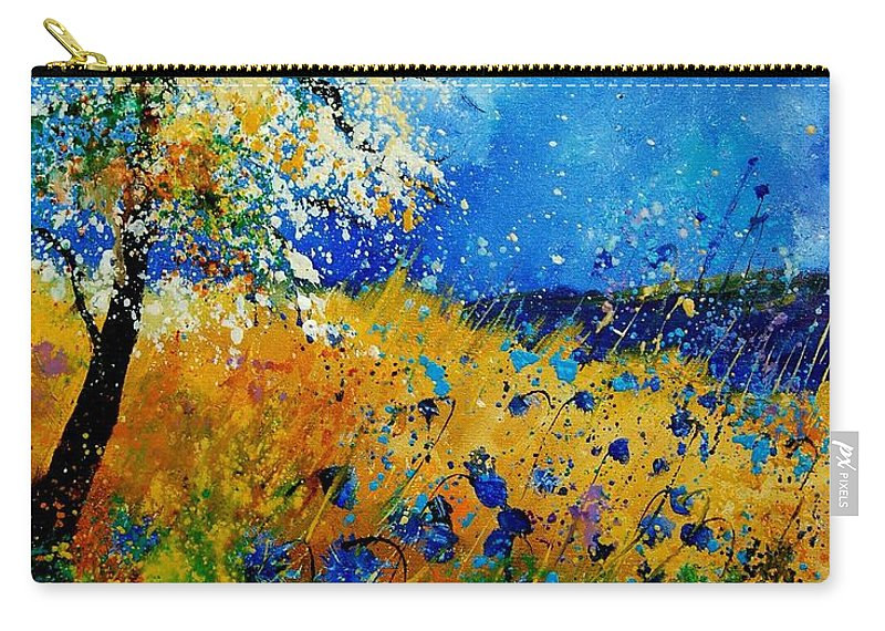 Poppies Carry-all Pouch featuring the painting Blue Cornflowers 450108 by Pol Ledent