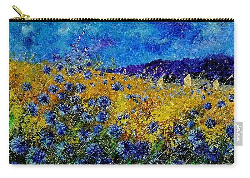 Poppies Carry-all Pouch featuring the painting Blue Cornflowers by Pol Ledent