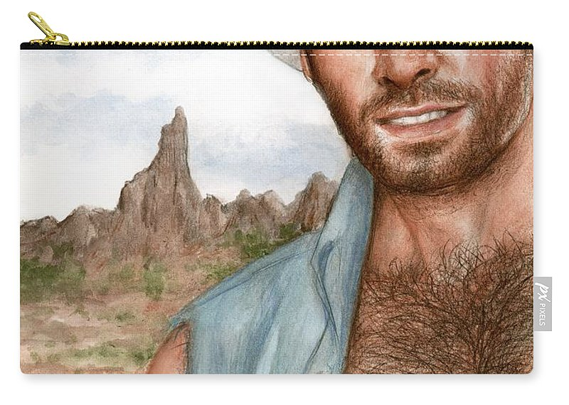 Cowboy Bruce Lennon Art Carry-all Pouch featuring the painting Blue Cowboy by Bruce Lennon