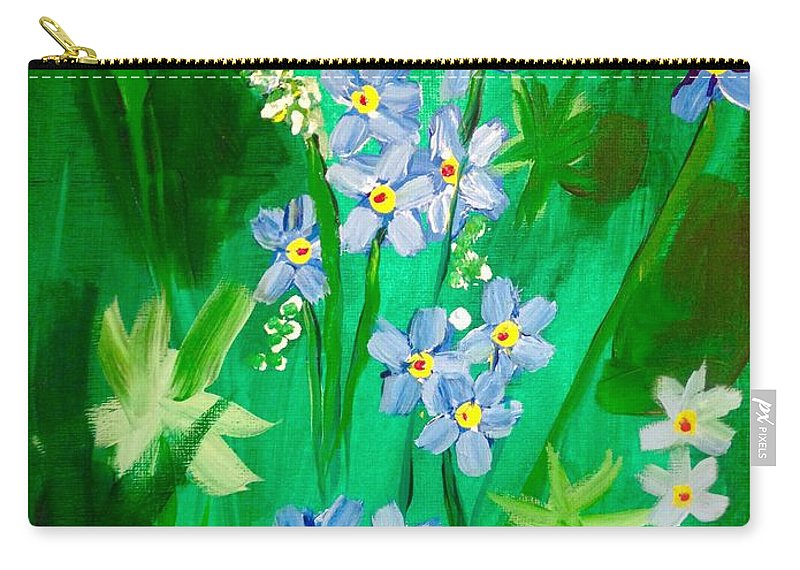 Flowers Carry-all Pouch featuring the painting Blue Crocus Flowers by Renee Michelle Wenker
