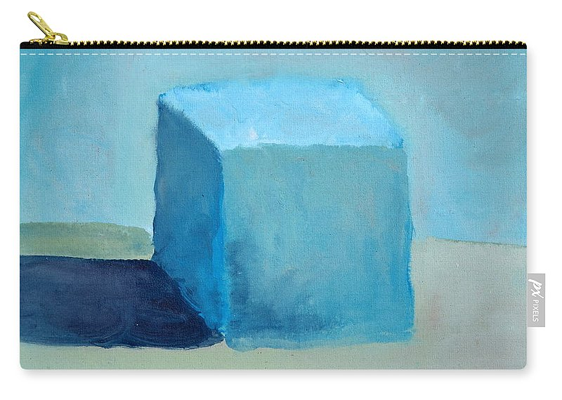 Blue Carry-all Pouch featuring the painting Blue Cube Still Life by Michelle Calkins