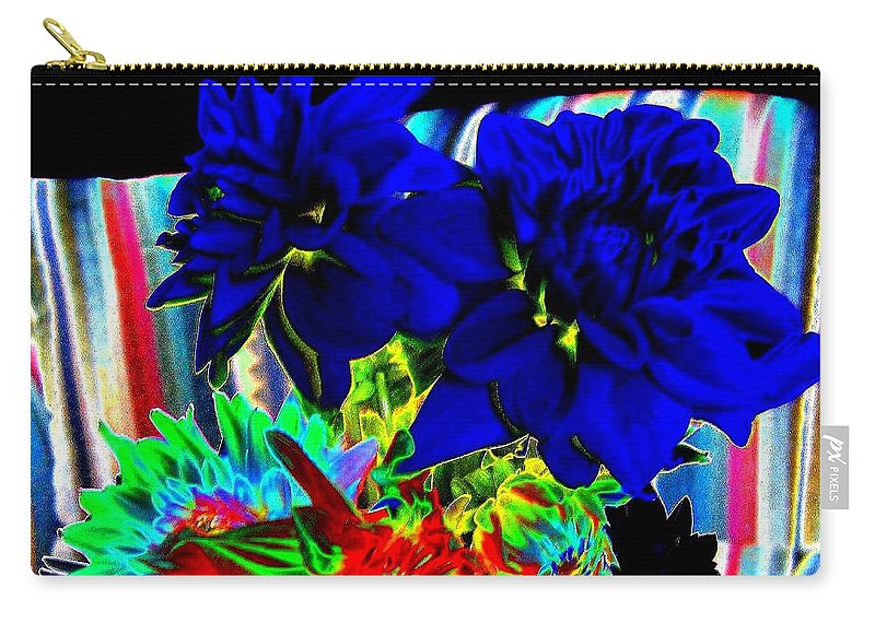 Abstract Carry-all Pouch featuring the digital art Blue Dahlias by Will Borden