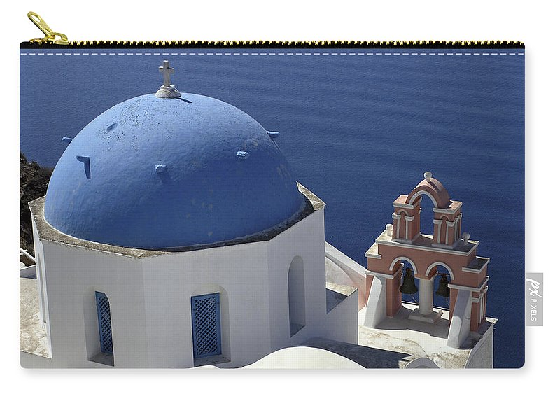Greek Orthodox Church Carry-all Pouch featuring the photograph Blue Dome Pink Bell Tower by Sally Weigand