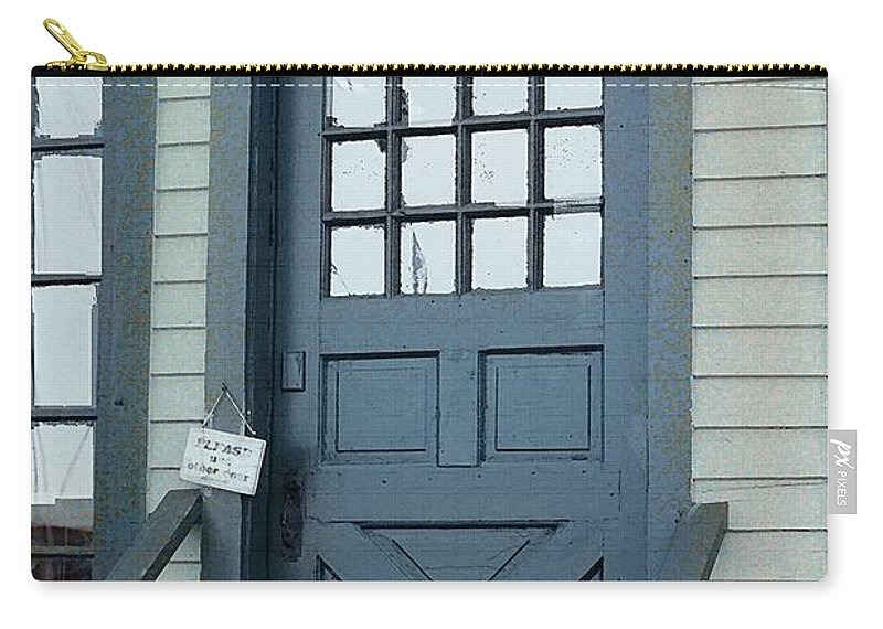 Door Carry-all Pouch featuring the painting Blue Door At The Seaport by RC DeWinter