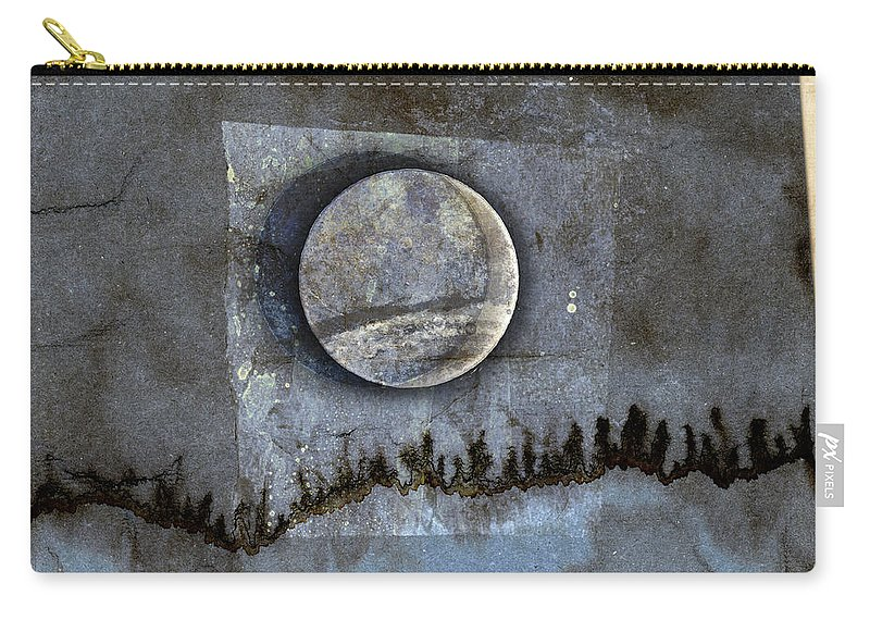 Blue Eclipse Carry-all Pouch featuring the mixed media Blue Eclipse by Carol Leigh
