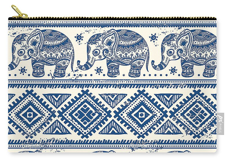 Blue Carry-all Pouch featuring the digital art Blue Elephant With Ornaments Design by Long Shot