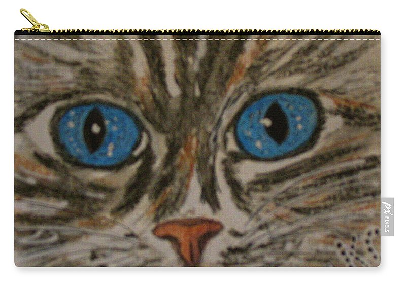 Blue Eyes Carry-all Pouch featuring the painting Blue Eyed Tiger Cat by Kathy Marrs Chandler