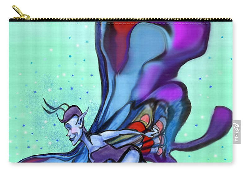 Blue Carry-all Pouch featuring the digital art Blue Faerie by Kevin Middleton