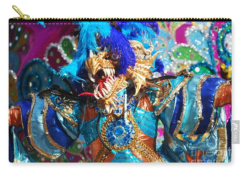 Carnival Carry-all Pouch featuring the photograph Blue Feather Carnival Costume And Colorful Background Horizontal by Heather Kirk