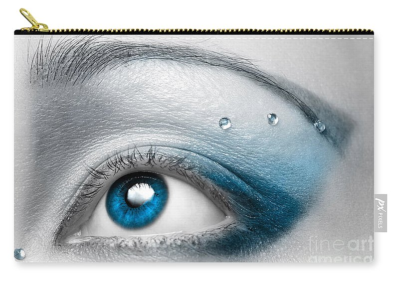Eye Carry-all Pouch featuring the photograph Blue Female Eye Macro with Artistic Make-up by Maxim Images Prints