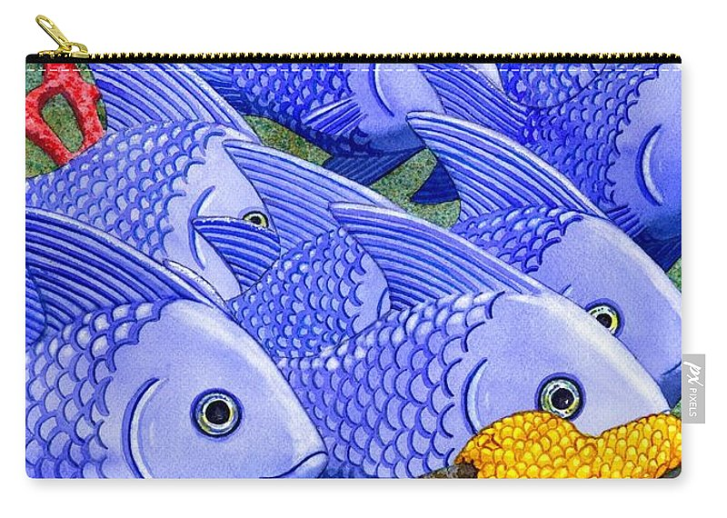 Fish Carry-all Pouch featuring the painting Blue Fish by Catherine G McElroy