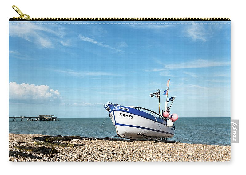 Boat Carry-all Pouch featuring the photograph Blue Fishing Boat by Michalakis Ppalis