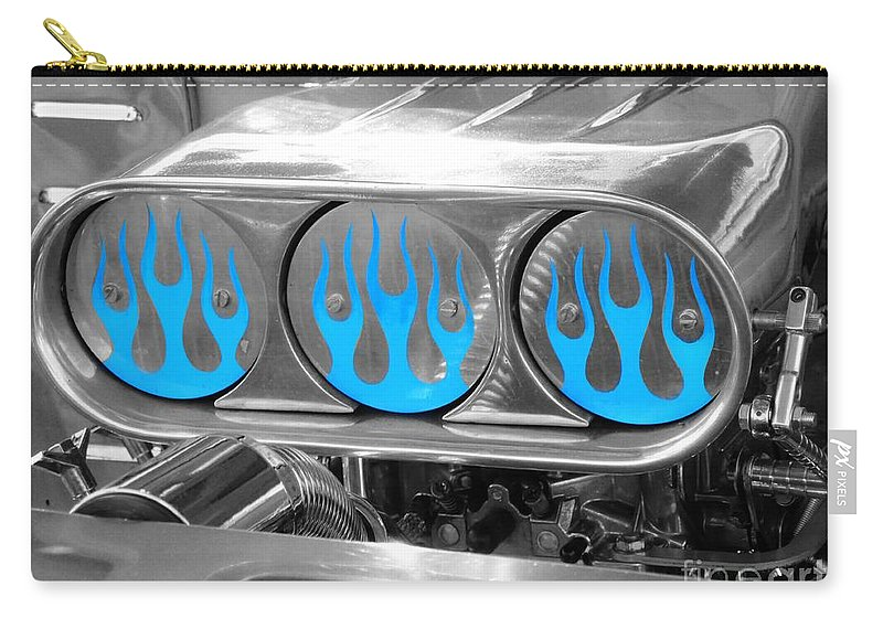 Blue Carry-all Pouch featuring the photograph Blue Flames by Vicki Spindler