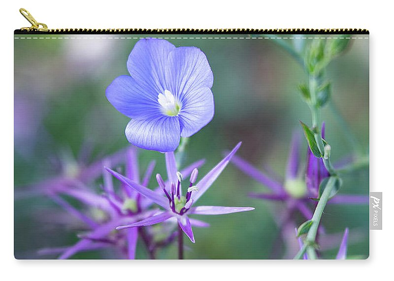 Colorado Wildflowers Carry-all Pouch featuring the photograph Blue Flax Wildflower With Purple Allium In Foreground by Barbara Rogers Nature Inspired Art Photography