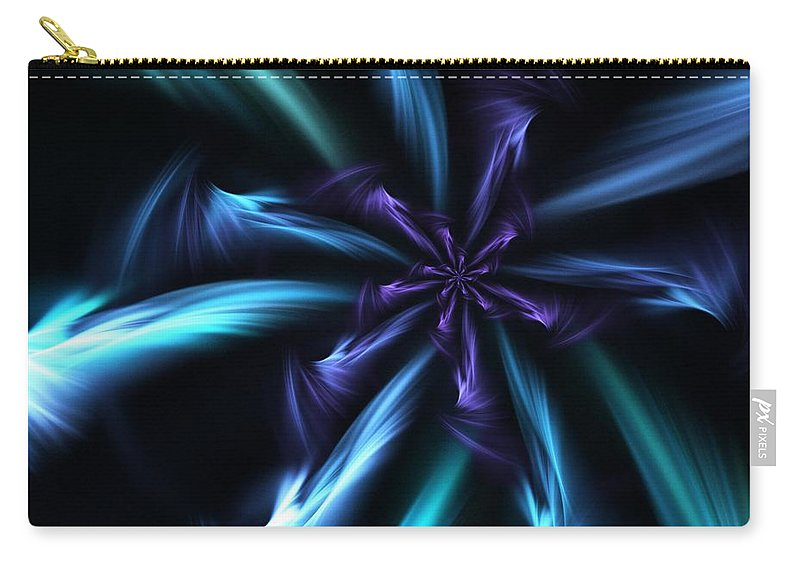 Fantasy Carry-all Pouch featuring the digital art Blue Floral Fractal 12-30-09 by David Lane