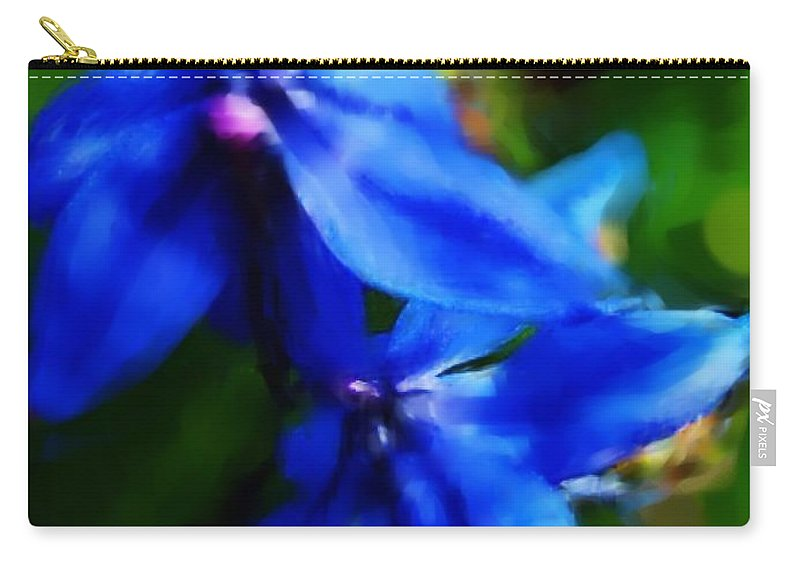 Digital Photograph Carry-all Pouch featuring the photograph Blue Flower 10-30-09 by David Lane