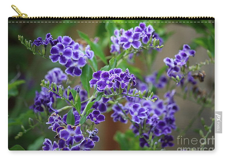 Greeting Card Carry-all Pouch featuring the greeting card Blue Flowers Card by Carol Groenen