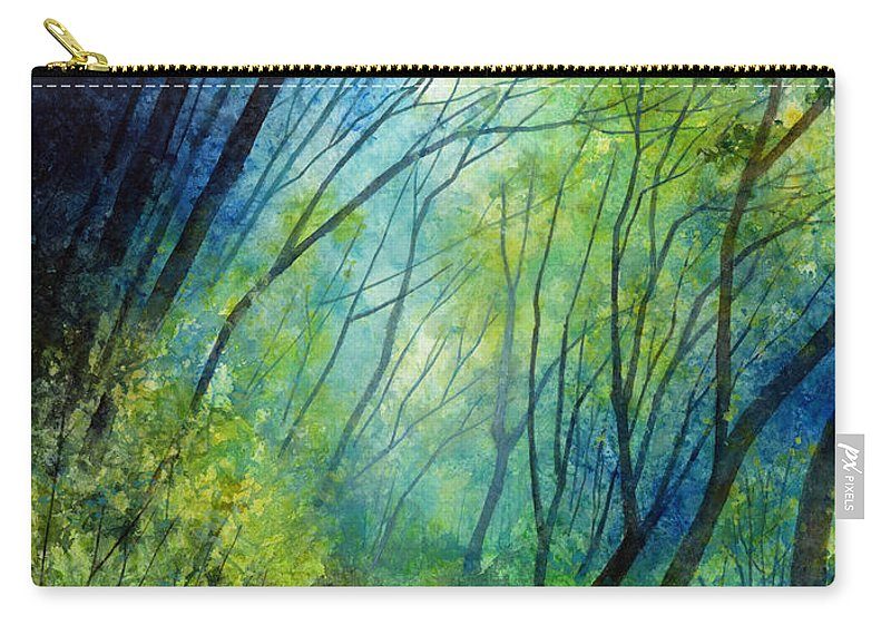 Blue Carry-all Pouch featuring the painting Blue Fog by Hailey E Herrera