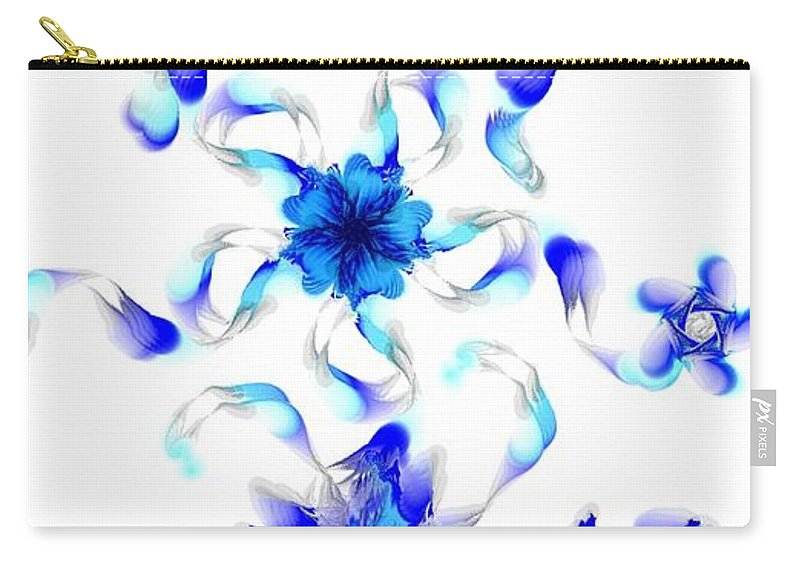 Digital Photograph Carry-all Pouch featuring the digital art Blue Fractal Flowers by David Lane