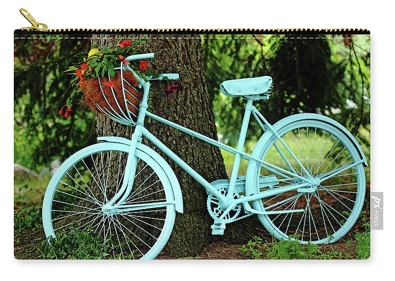 Bike Carry-all Pouch featuring the photograph Blue Garden Bicycle by Debbie Oppermann