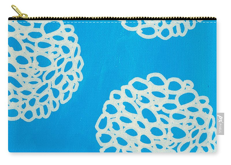 Blue Carry-all Pouch featuring the painting Blue Garden Bloom by Linda Woods