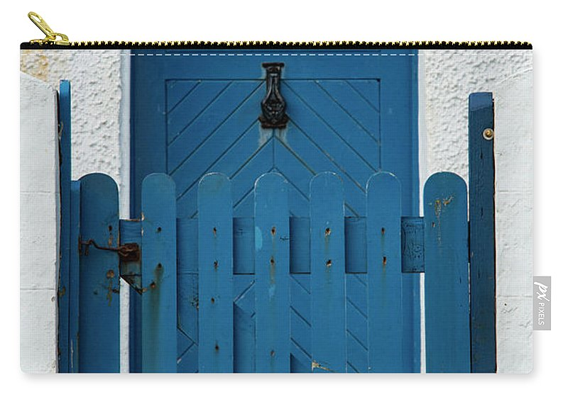 Isle Of Iona Carry-all Pouch featuring the photograph Blue Gate And Door On White House by Bob Phillips