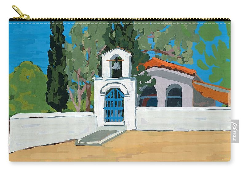Bell Carry-all Pouch featuring the painting Blue Gate by Sarah Gillard