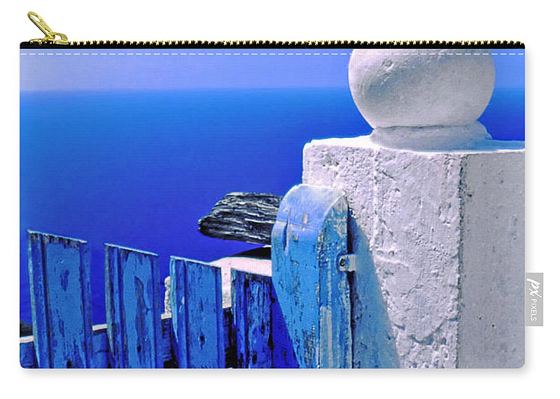 Blue Carry-all Pouch featuring the photograph Blue Gate by Silvia Ganora